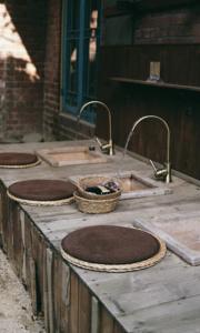 Public wooden sink in Korea